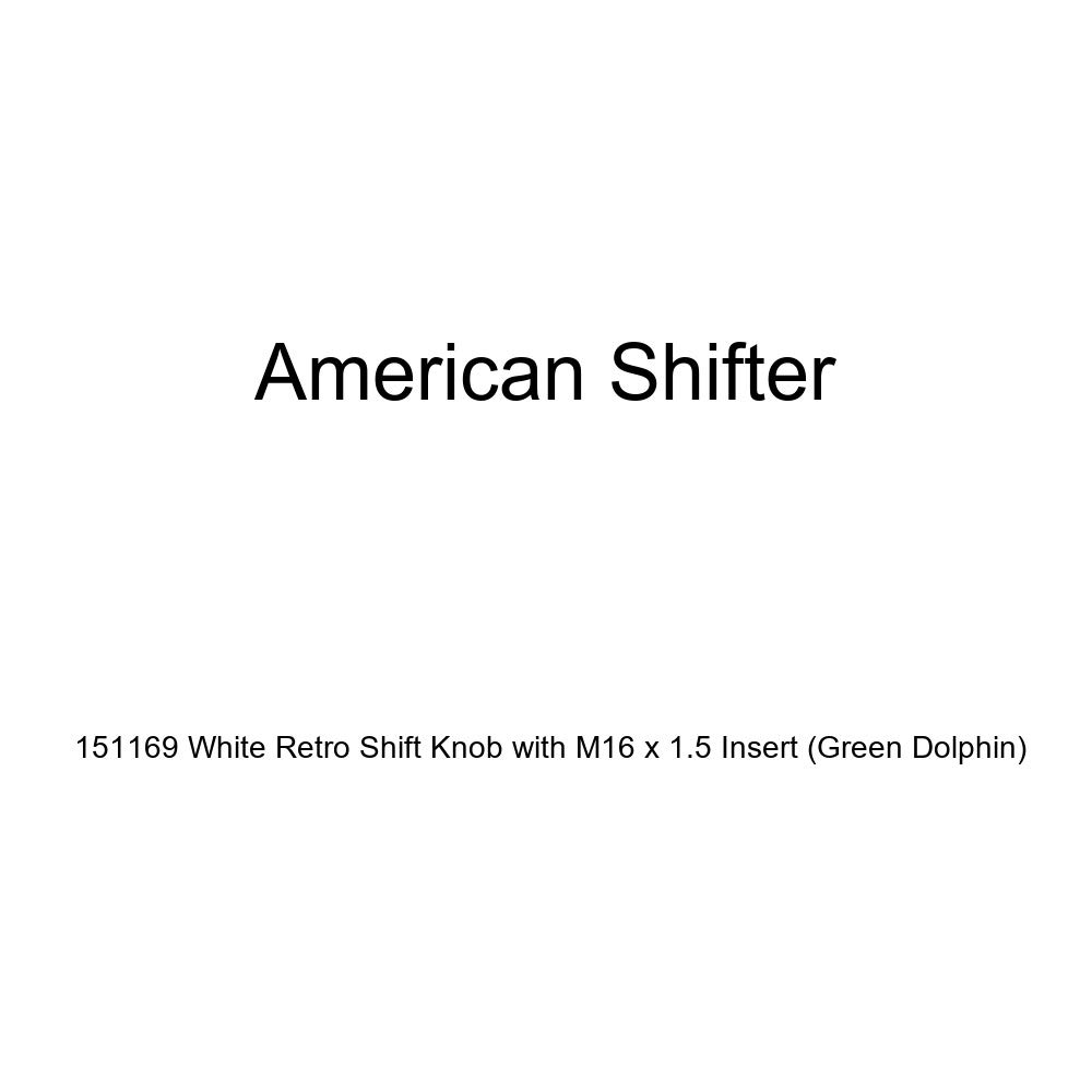 American Shifter 151169 White Retro Shift Knob with M16 x 1.5 Insert Green Dolphin