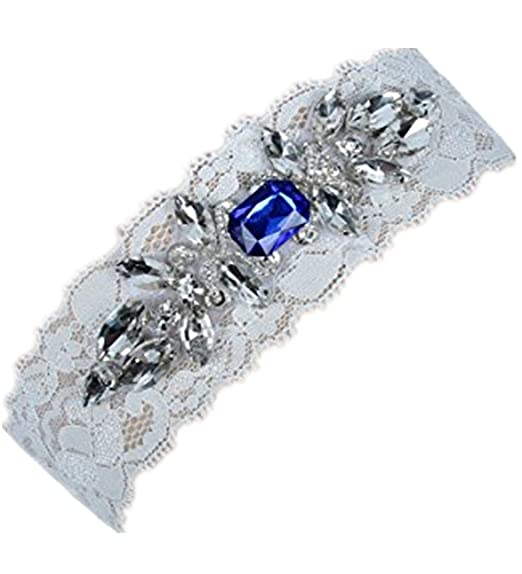 fbe0d4089 Amazon.com  VEPYCLY Women s Wedding Bridal Garter Set Belt Series Lace Crystal  Rhinestone Blue Vintage Prom Gift  Clothing