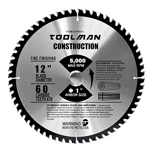60t Carbide Blade - Toolman Circular Saw Blade Universal Fit 12