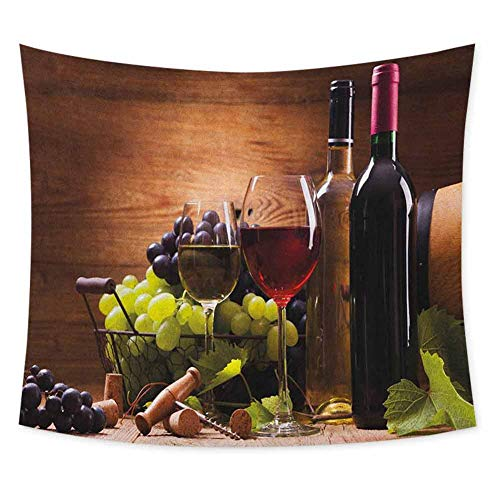 jecycleus Wine Tie Dye Tapestry Wall Hanging Glasses of Red and White Wine Served with Grapes French Gourmet Tasting Wall Art for Living Room Hanging W55 x L55 Inch Brown Ruby Pale Green (Dye Wine Tie Glasses)