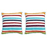 Set of 2 Decorative Pillows By The Pioneer Woman, Pom Pillow, Pom Decorations, Throw Pillows, Decor Pillows, Pom Fringe Pillow, Colorful Throw Pillows (Choose Your Style) (Multi Lace 16x16)