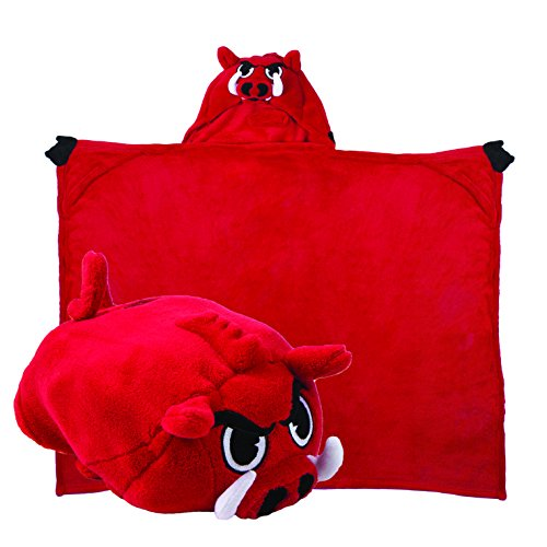 (Comfy Critters Stuffed Animal Blanket - College Mascot, University of Arkansas 'Big Red' - Kids Huggable Pillow and Blanket Perfect for The Big Game, Tailgating, Pretend Play, Travel, and Much More )