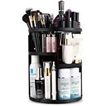 Jerrybox 360 Degree Rotation Makeup Organizer Adjustable Multi-Function Cosmetic Storage Box, Large Capacity, Fits Toner, Creams, Makeup Brushes, Lipsticks and More (Black, Circle)