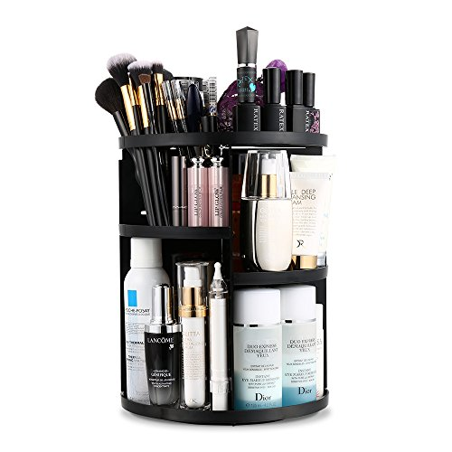 Jerrybox 360 Degree Rotation Makeup Organizer Adjustable Multi-Function Cosmetic Storage Box, Large Capacity, 7 Layers, Fits Toner, Creams, Makeup Brushes, Lipsticks and More, Black