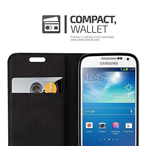 Cadorabo - Funda Book Style Cuero Sintético en Diseño Libro Samsung Galaxy S4 MINI - Etui Case Cover Carcasa Caja Protección con Imán Invisible en ROJO-MANZANA MARRÓN-CAPUCHINO