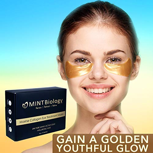 Under Eye Bags Treatment - 24K Gold Marine Collagen Eye Masks - Dark Circles Under Eye Treatment - Under Eye Patches Mask for Puffy Eyes by MINTBiology
