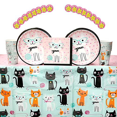 (Purr-FECT Birthday Party Supplies Pack for 16 Guests: Stickers, Dinner Plates, Luncheon Napkins, Table Cover, and Cups)
