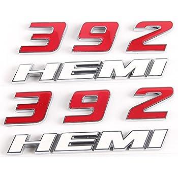 2 PCs Red Black 392HEMI Emblem Fender Side Badge Sticker 6.4L Decal For 300 SRT8