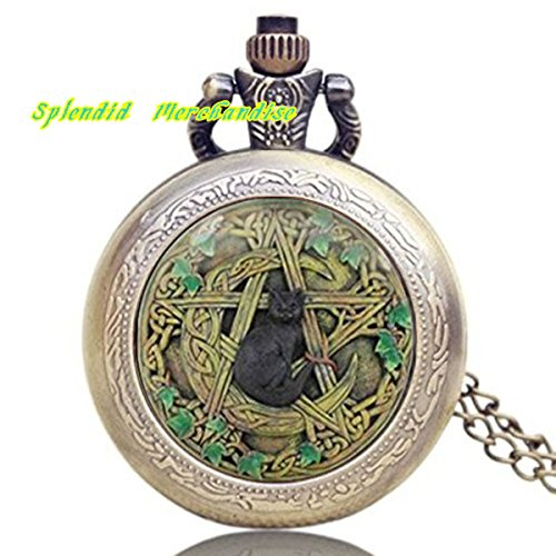 Splendid Merchandise® Wiccan Necklace Pendant Watch Black Cat Wiccan Charm Jewelry Watch