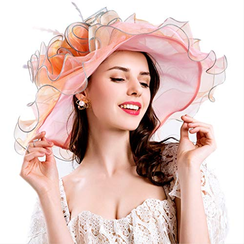 Genuva Women's Organza UV-Anti Church Derby Hat Fascinator Tea Party Wedding Hat Ruffles Wide Brim Bridal Cap (Style 6 - Orange Pink) -