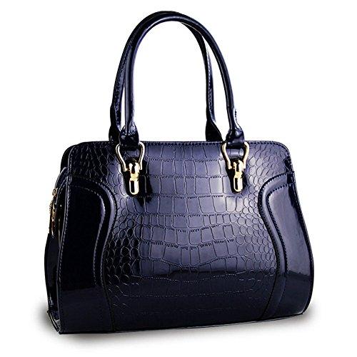 Profond Messenger Femmes Grain Bleu Verni Haute Cuir Couleur Épaule en Qualité Crocodile Pure Sac qH1xCWqO