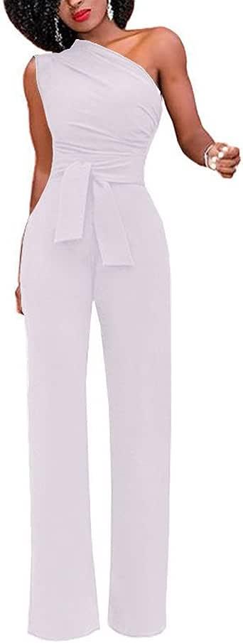 Mujer Mono Color Solido Largo Pantalones Elegante Fiesta Casual One Hombro Jumpsuit Romper Monos Ropa
