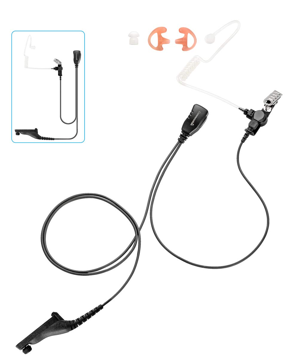Single Wire Earpiece Headset for Motorola Radio APX6000 APX7000 APX8000 APX4000 APX1000 APX900 XPR6000 XPR7000 Series, Acoustic Tube Style, Kevlar Reinforced Cable, Long Life Design, Compact PTT/Mic by commountain