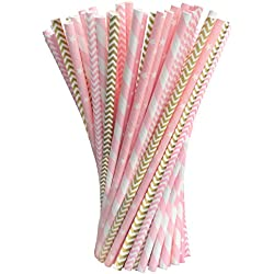 Pack of 200 Paper Straws Party Decoration Striped Drinking Straws for Birthday, Wedding, Christmas, Celebration Parties by Acerich