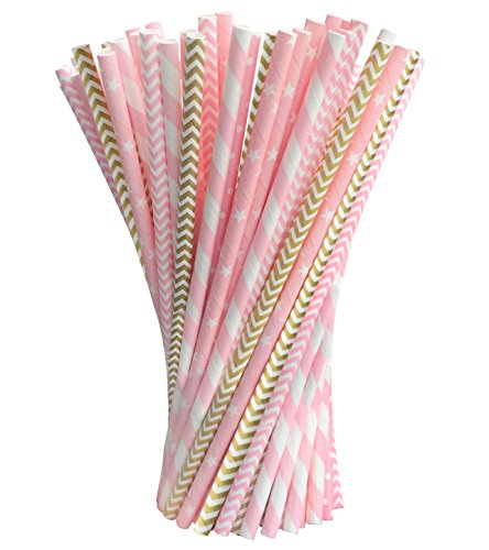Acerich 200 Pack Biodegradable Paper Straws, Striped Pink Paper Drinking Straws for Juices, Shakes, Smoothies, Birthday, Wedding Decorations, Party Supplies
