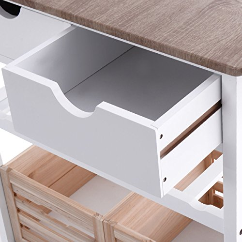 Costzon Kitchen Trolley Island Cart Dining Storage with Drawers Basket Wine Rack by Costzon (Image #3)'
