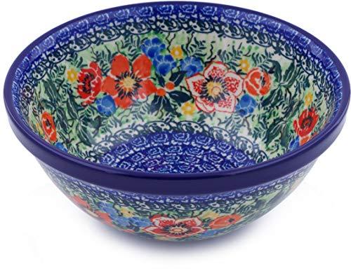 - Polish Pottery 6½-inch Bowl made by Ceramika Artystyczna (Blue Daisy Bouquet Theme) Signature UNIKAT + Certificate of Authenticity