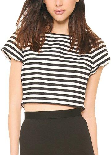 Women's Loose Slim Tailor Short Type Back Zip Stripes Print Round Collar T-Shirt XL