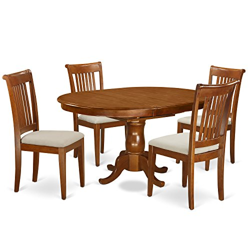 East West Furniture PORT5-SBR-C 5-Piece Dining Table Set