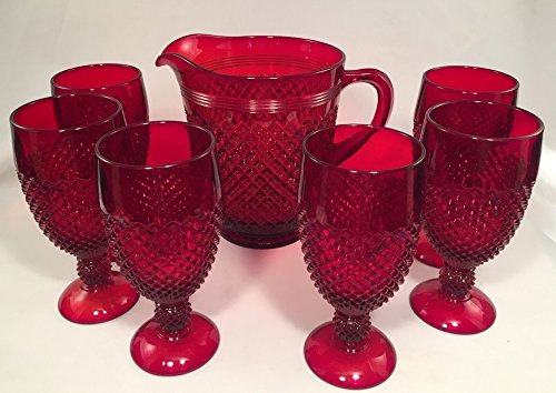 Addison Pattern Glass Pitcher Set - American Made (7 Piece Set, Red) (Ruby Red Goblet Water)