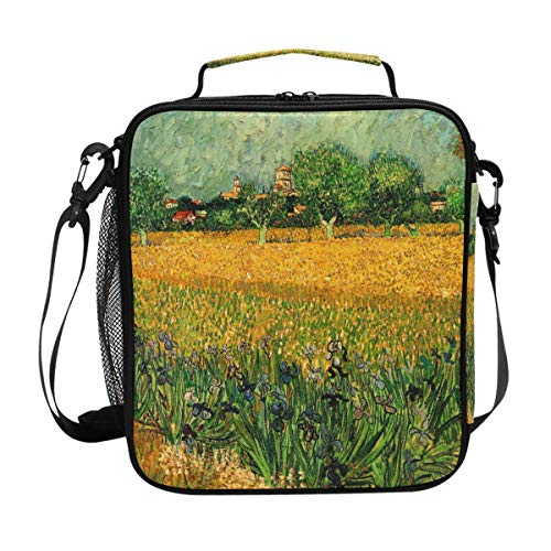 Van Gogh Art Arles With Iries In The Foreground Lunch Box Meal Prep Insulated Cooler Thermal Reusable Tote With Shoulder Strap Portable Lunch Bag