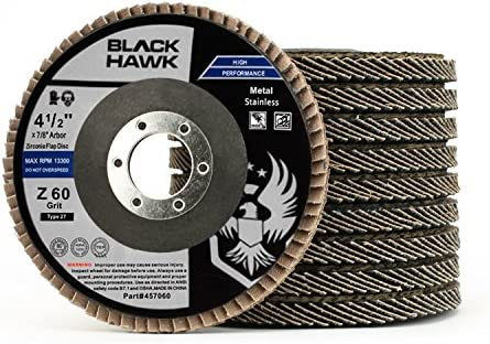 "50 Pack 4.5/"" x 7//8/"" Black Hawk 80 Grit Zirconia Flap Disc Grinding Wheels T29"