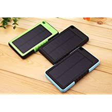 Blue Portable Solar Charger 8000mHa - Waterproof Power Bank for Iphone, Android or Devices up to 5V - Shockproof Sunpower Panel Great for Outdoors - Mobile Phone Charger with USB Port and Flashlight