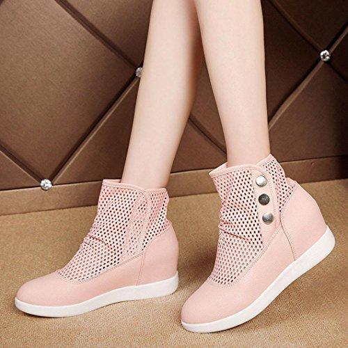 TPulling Mode Stylische Hohle atmungsaktive Frauen Stiefel Freizeit wild In Der Zunahme Schuhe Rosa