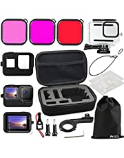 Husiway Accessories Bundle for GoPro Hero 10 / 9 Black Waterproof Housing Tempered Glass Lens Screen Protector Film Silicone Case Colorful Filters Kit for Gopro10 Hero10 Gopro9 Go Pro Hero9 18F