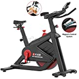 SNODE Indoor Cycling Spin Bike Trainer – Stationary Belt Drive Exercise Bike with High Weight Flywheel, Tablet Holder, LCD Monitor for Professional Cardio Workout(2019 New)