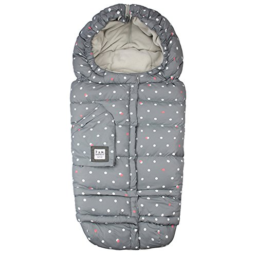 Infant Car Seat Footmuff (7AM Enfant Blanket 212 Evolution, Wind and Water-Resistant, Universal and Versatile Stroller and Car Seat Footmuff, Best for Freezing Winter Conditions (Print Grey Polka Dots, One Size 0-4T))