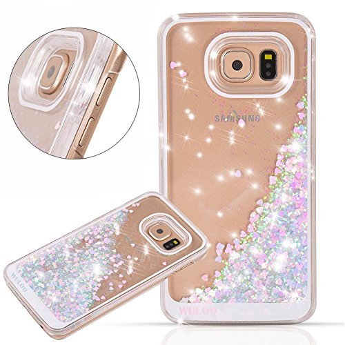 Urberry Galaxy S6 Edge Case,Running Glitter Cover, Sparkle Love Heart, Creative Design Flowing Liquid Floating Luxury Bling Glitter Sparkle Hard Case for Samsung Galaxy S6 Edge with a Screen Protector