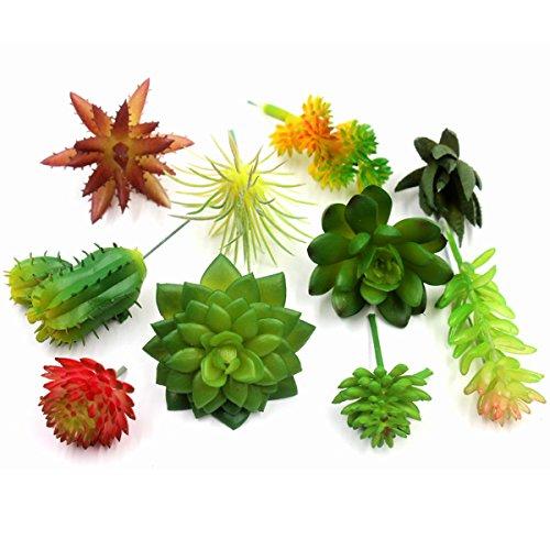 GPARK 10 Pcs Artificial Succulents Pots Plants Simulation Cactus Cacti DIY Materials Decorative Plastic 2-4 inch Small Size