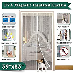 """Insulated Magnetic Door Curtain, IKSTAR EVA Thermal Door Cover Fit Door Size Up to 36""""x82"""", for Exterior/Interior/Kitchen Doors with Draft Stopper, Hands Free Closure and Pets/Kids Walk Through Free"""