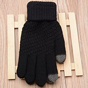 Womens Touch Screen Warm Soft Winter Knit Texting Gloves Cute Fashion Mittens for Smartphone Iphone Ipad(Black)