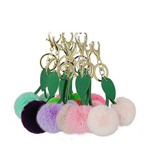 Bluelans Cute Cherry Kunstfell Pom Pom flauschig weich Ball Schlüsselanhänger Tasche Keying im Auto Anhänger, weiß, Einheitsgröße Taro Violett