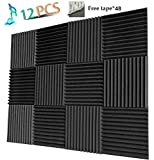 Acoustic Panels Studio Foam Sound Proof Panels Noise Dampening Foam Studio Music Equipment Acoustical Treatments Foam 12 Pack-12''12''1''