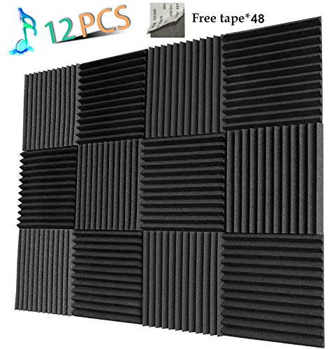 (Acoustic Panels Studio Foam Sound Proof Panels Nosie Dampening Foam Studio Music Equipment Acoustical Treatments Foam 12 Pack-12''12''1'')