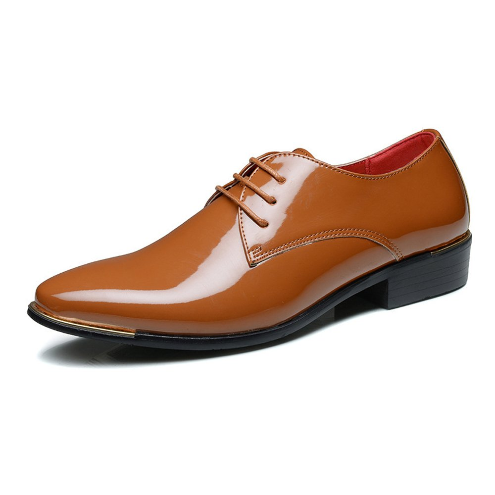 Brown Z.L.F Men's Formal shoes Modern PU Patent Leather Low Block Heel Lace Up Loafer shoes Large Size Oxford shoes