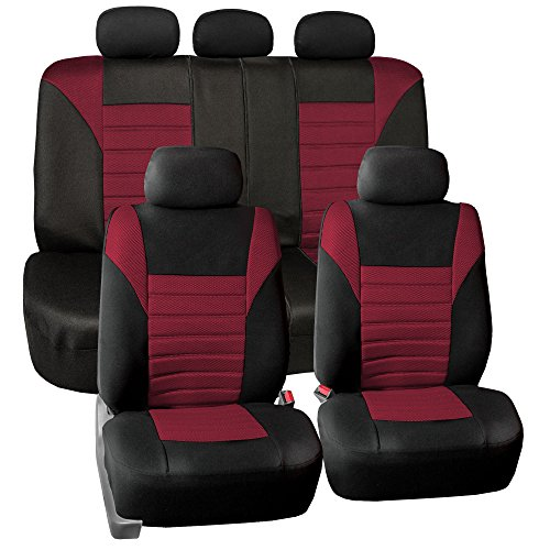 FH GROUP Premium 3D Air Mesh Seat Covers Full Set (Airbag & Split Ready), Burgundy / Black Color- Fit Most Car, Truck, Suv, or Van