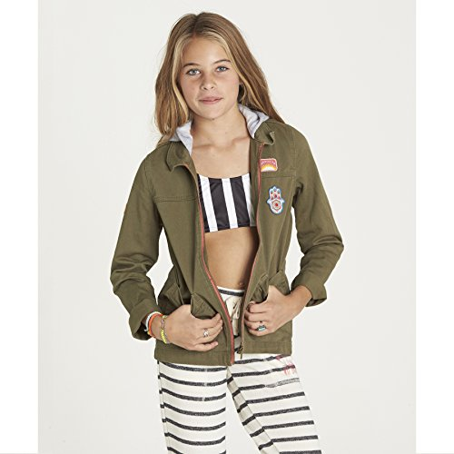 Billabong Big Girls' Found You Military Inspired Jacket with Fleece Hood, Ctn, M (Billabong Kids Jacket)