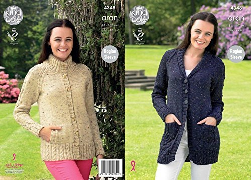 King Cole Ladies Raglan Cardigans Fashion Knitting Pattern 4348 Aran by King Cole by King Cole