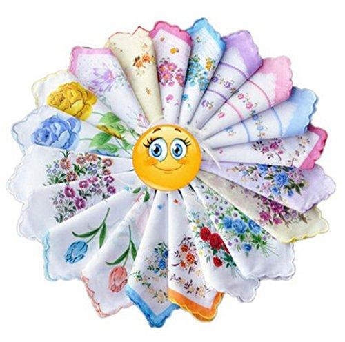 KINGDESON Colorful Women Floral Handkerchiefs Wedding Party Fabric Hankies 12PCS