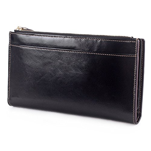 AINIMOER Women's Leather Trifold Long Wallet Card Case Zippered Ladies Clutch Purse