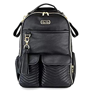 Itzy Ritzy Diaper Bag Backpack – Large Capacity Boss Backpack Diaper Bag Featuring Bottle Pockets, Changing Pad, Stroller Clips and Comfortable Backpack Straps, Jetsetter Black