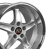 #5: 17x10.5 Wheel Fits Ford Mustang - Cobra R Style DD Silver Rim w/Mach'd Lip - REAR FITMENT ONLY
