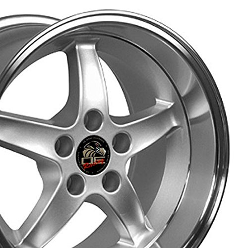 17x9/17x10.5 Wheels Fit Ford Mustang - Cobra R DD Style Rims - Silver w/Mach'd Lip -SET
