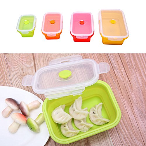 Lunch Bento Boxes Silicone BPA Free Collapsible Container 4 Pack Kids/Adults Food Savers Containers for Sandwich, fruits Meal Prep Leakproof Preservation Box Freezer Microwave Oven