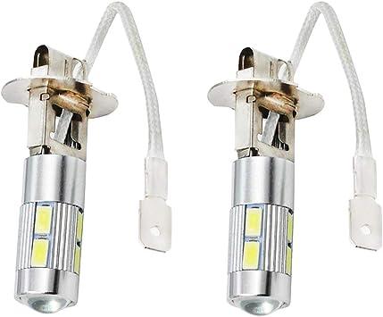2X H3 10SMD Car LED White Fog Driving DRL Light Bulbs 6000K Lens Lamps High Beam
