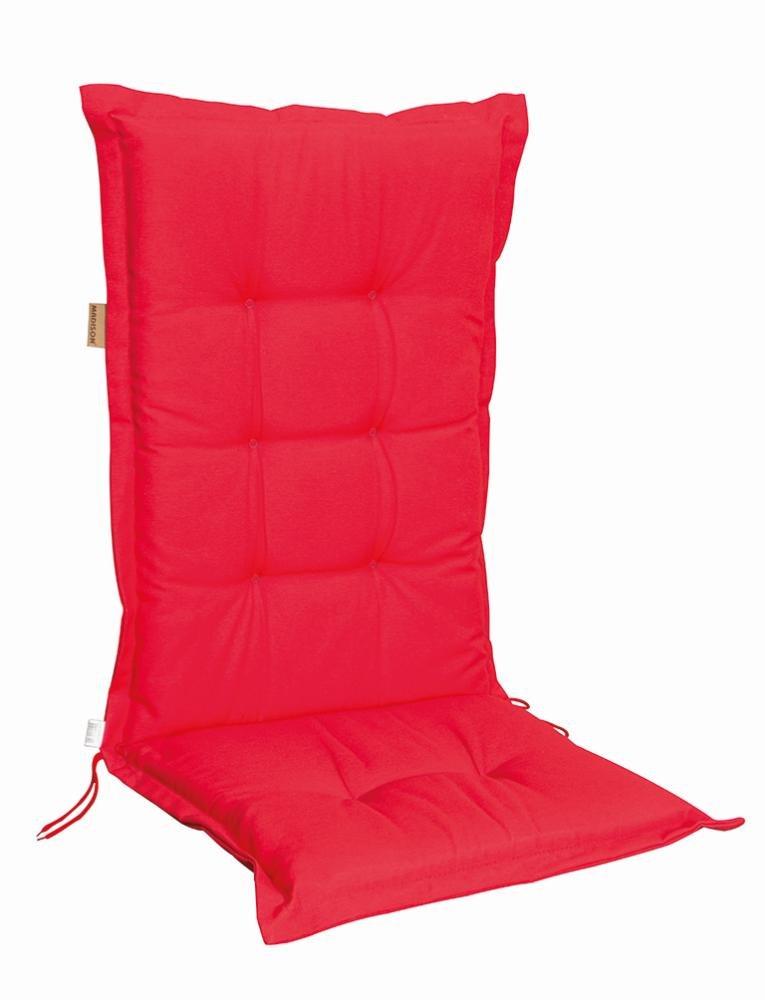 6 Stück MADISON Dessin Panama Stuhlauflage niedrig, Niedriglehner Auflage, 75% Baumwolle, 25% Polyester, 100 x 50 cm, in rot